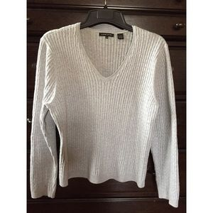 Sweaters - Jeanne Pierre Gray Cable Knit Sweater